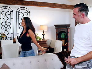 Experienced man gives the big-titted wifey the long-awaited pounding