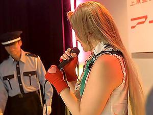 Sensuous Asian tart Ai deep-throats on a massive rod on stage