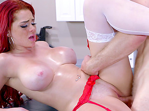 Stunning red-haired nurse luvs banging her draped patient