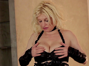 Limber mature blonde fondling her natural tits lovely