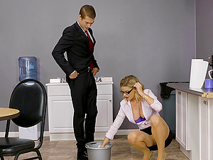 Magnificent Jessa Rhodes getting rammed in the kitchen of the office
