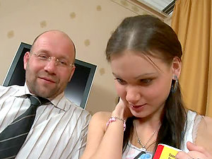Hot nubile Irina blows her instructor and gets fucked by him