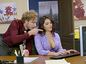 Curly-haired man gives Valentina a nice ramming right there in office