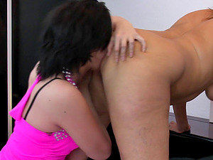 Lucky girl-on-girl granny has her old cootchie gobbled by the sweetest nubile