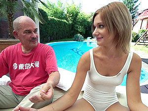 Sweet woman lets her fresh mature paramour screw her by the pool