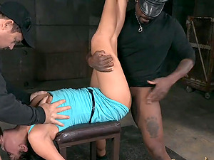 Short-haired sugar has her face fucked without mercy with a black rod