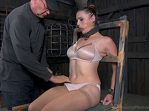 Ball-gagged big titted chick wants to perceive sweet anguish
