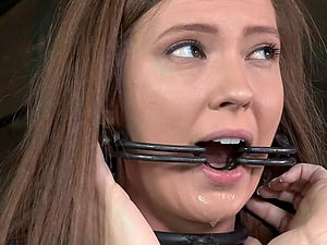 Encaged restrain bondage victim having her natural tits pinned in Bondage & discipline
