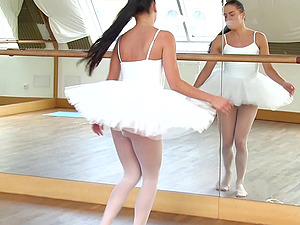 Beautiful ballerina called Evelyn thrusts the thumbs into her slit