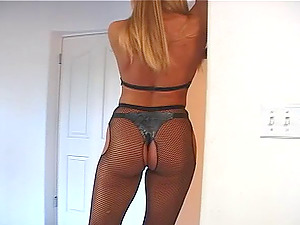 Adult movie star in fishnet pantyhose screams when her rectal is screwed in point of view shoot