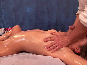 Cowgirl with hot booty refined with rubdown then banged hard-core