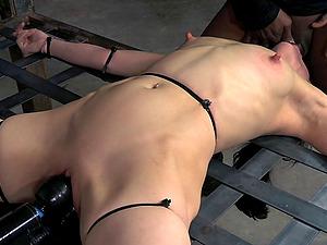 Restrain bondage dark haired getting nasty facial cumshot jizz flow in Domination & submission