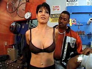 Faux tits sex industry star providing peckers fellatio in retro gym pornography