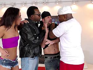 Guys with big black schlongs providing the dual treatment to Amara