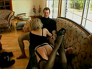 Dick longing blonde tempts a lucky man for a nice fuck