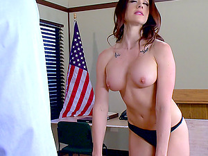 Yankee dark haired is so horny that she wants to have romp on the table!