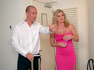 Gorgeous Cory Chase senses that her pink pucker is ultimately ready for the man sausage