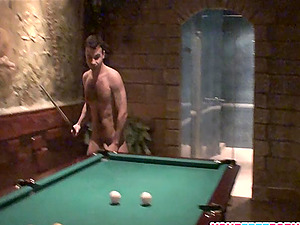 Sexy Brown-haired is back for Pool Table Fuck