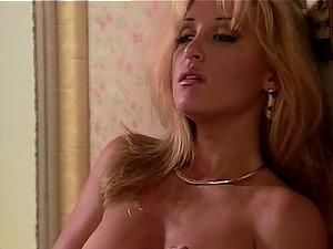 Grabbing a naked blonde bimbo to waste her big bean