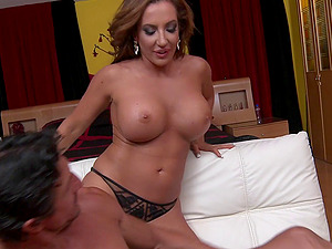 Sexy Cougar tempts a beautiful stud for a quick shagging session