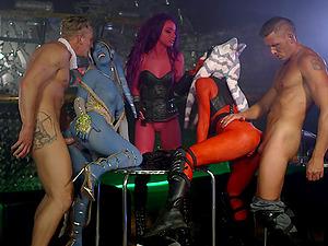 Kinky honeys spread their gams for formidable studs's penises