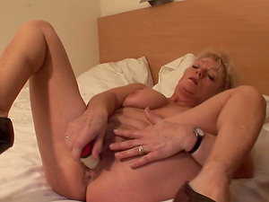 Blonde Trees bellows while playing with her nice love implement