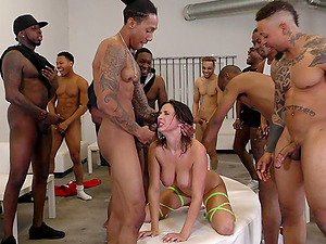 Victim Ashley Adams gang-fucked ruthlessly and cum-drenched