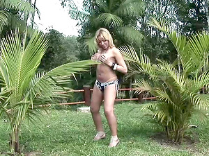 Insane blonde with a manstick likes playing with herself