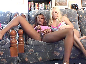Interracial Girly-girl Onanism and Real Orgasms