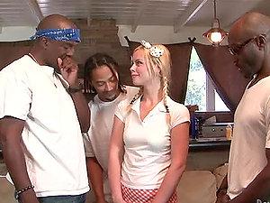 Hot blonde Tara Lynn Foxx gets her crevices fucked by a few black guys