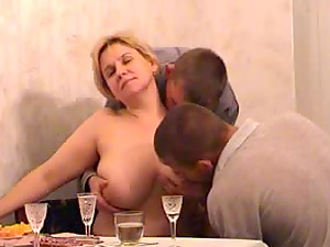Two studs having a nice dinner with a GILF whom they bang