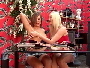 Cate Harrington opens her lengthy gams for her girly-girl friend