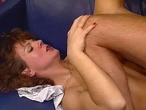 A Hairy Pussied Brown-haired Cougar Fucked In The Couch