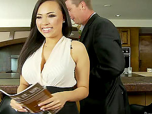 Gia Grace tempts a boy, fucks him and makes him jism on her belly