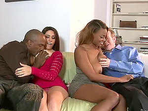 Amazing interracial group lovemaking in the living room