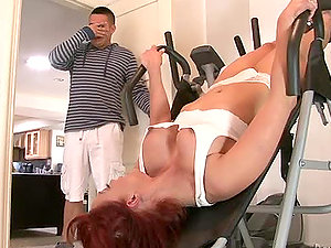 Mischievous Cougar Nicki Hunter gets her vagina fucked deep in a gym