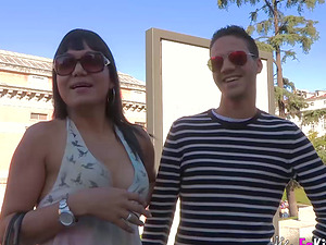 Lauren Candy can't stop munching Kevin Coto's tasty sausage