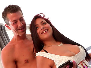 Stunning beauty Carol Linda strips for a handsome lover's prick