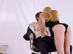 Lily Cade and Kayden Kross enjoy playing with a massive strap-on