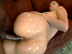 Oiled hot as Sabara doggystyle ravished in interracial porn