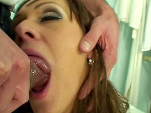 Horny chick in stockings fucked well by a handsome doctor