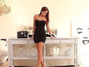 Satin Bloom takes off her black dress for a nice masturbation game