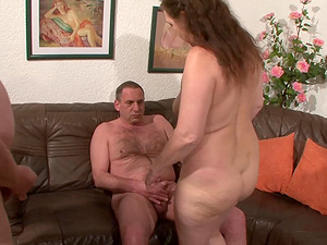 Mature lady gets lucky with two insatiable but giving gentlemen