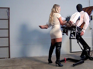 Two submissive dudes managed by dominant gorgeous Barra Brass