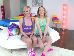 Lily Labeau and Haley Reed double sloppy blowjob