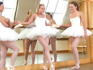 Vinna Reed and Valerie Fox join a ballerina for a threesome