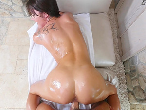 Steamy assplay with an oiled bimbo Adria Rae before rough assfucking