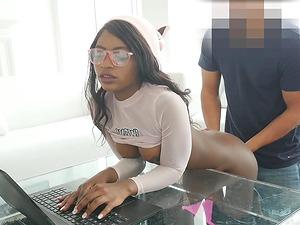 Flat-chested ebony honey Noemie Bilas bouncing on a throbbing cock