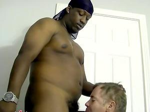Naughty mature dude gives blowjob to black hunk James