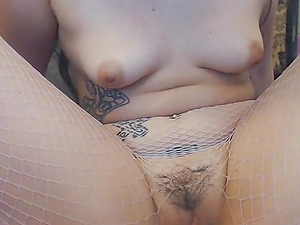 Her Goth Hairy Pussy in Fishnet Stockings